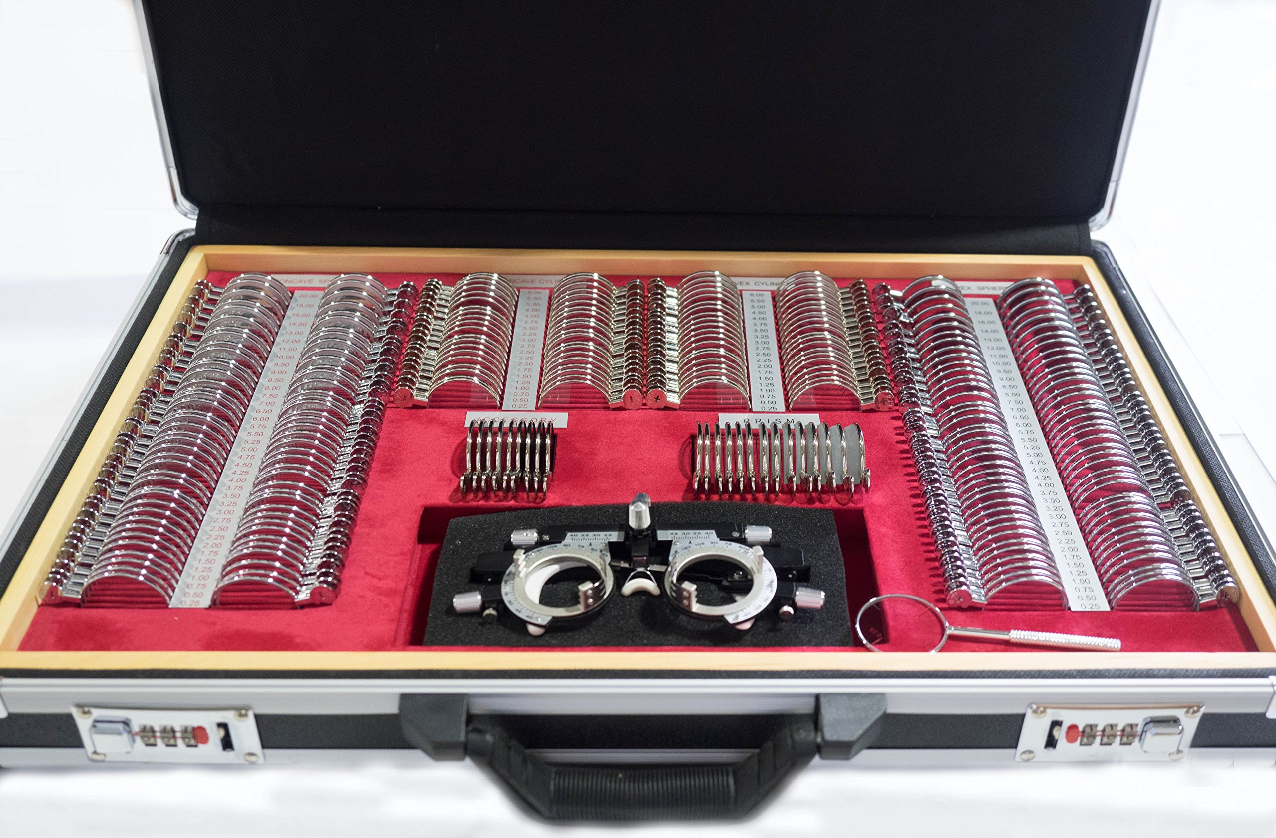 Trial Lens Set-261 Pieces w/ Aluminum Case and Wooden Tray for Drawer Storage by Strong Vision Technologies (Image #1)
