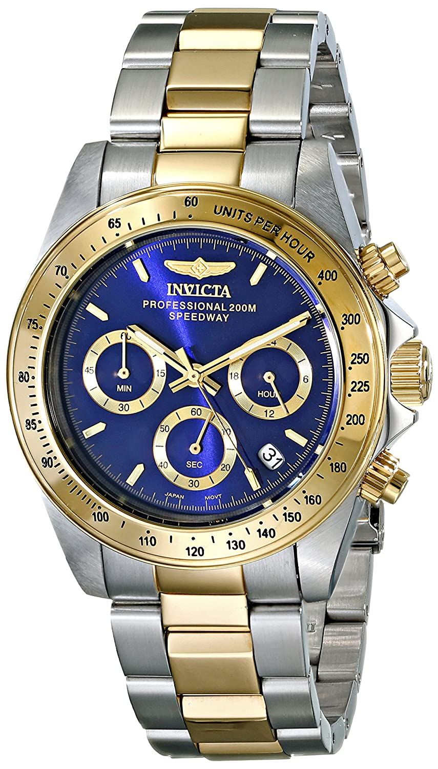 Invicta Men's 3644 Speedway Quartz Watch With Blue Dial Chronograph Display And Gold Stainless Steel Bracelet by