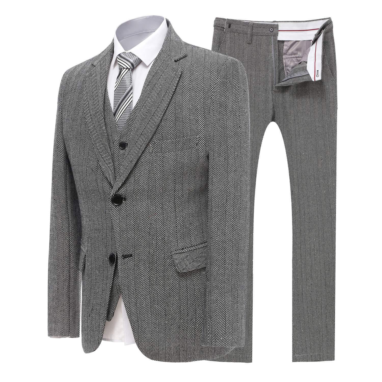 YBang Men's 3 Pieces Suit Blazer Tweed Herringbone Single Breasted Vest Pants WD154-SJ