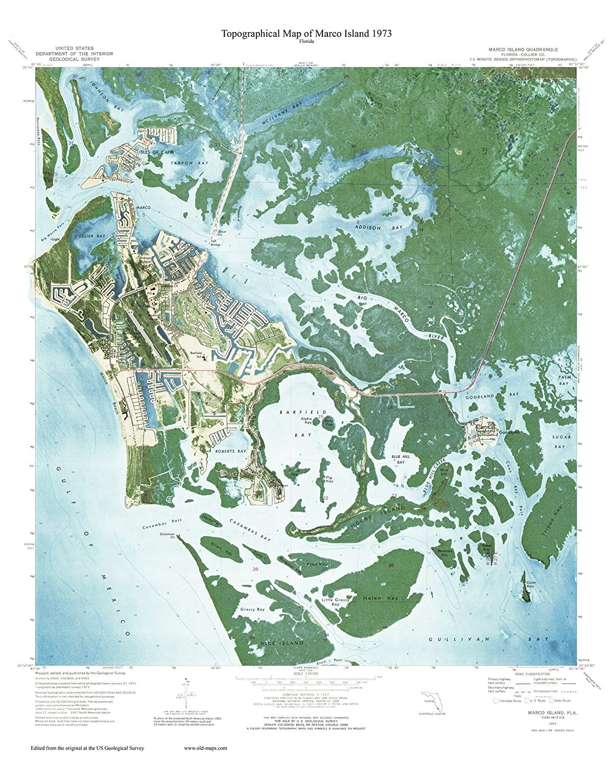 Marco Island 1973 USGS Custom Florida Old Topographial Map 7x7 Quad Reprint  - West Coast - Everglades - Naples Area