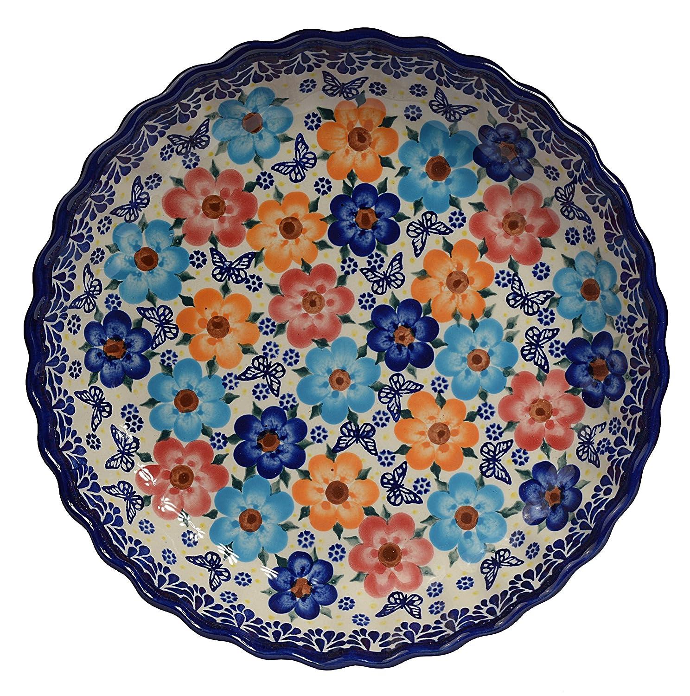 Traditionelle Polnische Keramik, handgefertigte Bräter und Backformen, Tarte- oder Quicheform mit Muster im Bunzlauer Stil, D.25cm O.201.Arts