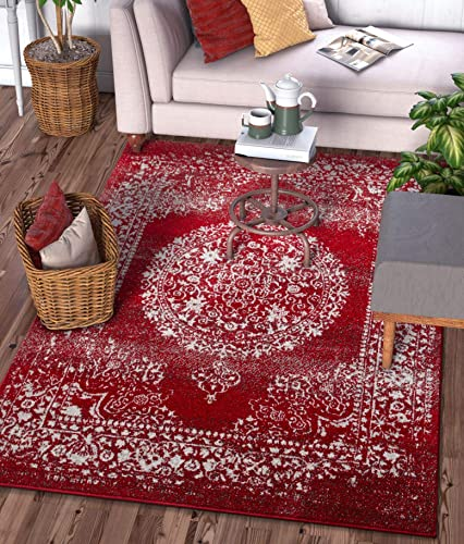 Well Woven Francesca Medallion Red Distressed Traditional Vintage Persian Floral Oriental Area Rug 8×11 7'10″ x 9'10″ Carpet