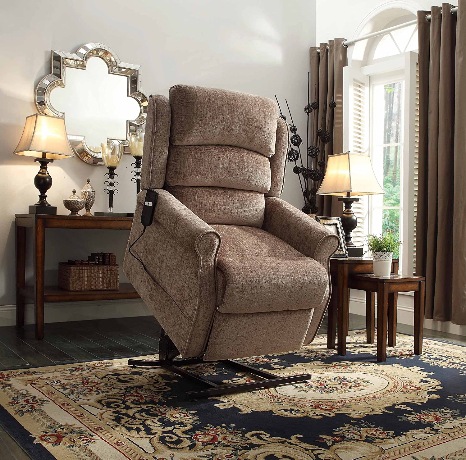 Amazon.com Homelegance 8509-1LT Power Lift Recliner Chair Brown Chenille Kitchen u0026 Dining & Amazon.com: Homelegance 8509-1LT Power Lift Recliner Chair Brown ... islam-shia.org