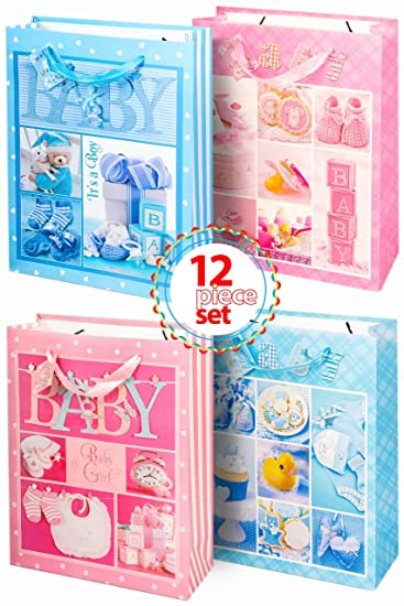 Amazon Com Assorted Gorgeous Gift Wrap Bags Baby Shower It S A Boy
