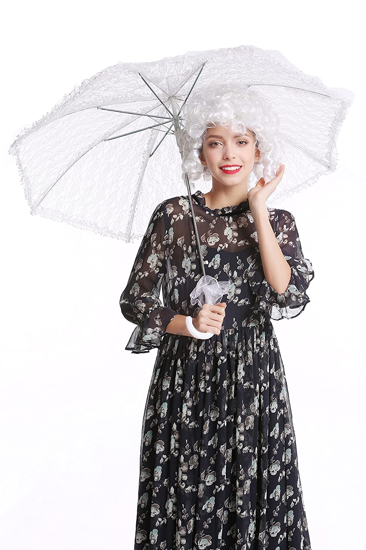 YS-004W Ombrelle Baroque Rococo Victorien Biedermeier Blanche Gothic Lolita DRESS ME UP