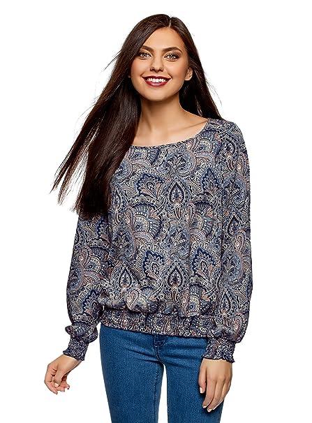 oodji Collection Mujer Blusa Estampada con Cuello Redondo, Azul, ES 36 / XS