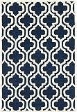Safavieh Chatham Collection CHT727C Handmade Dark Blue and Ivory Premium Wool Area Rug (5' x 8')