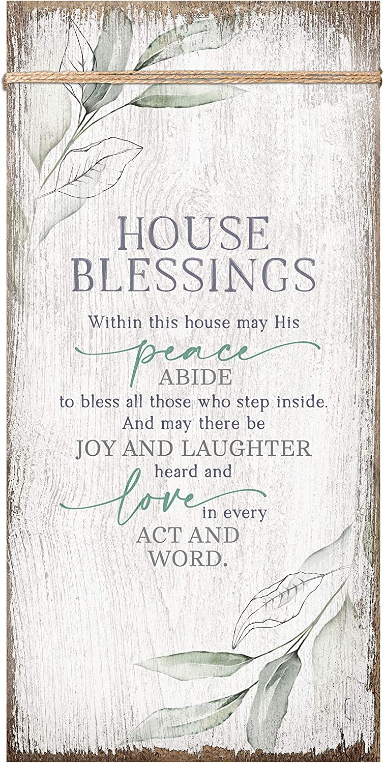 House Blessings Wood Plaque Inspiring Quote 6 3/4 in x 13 5/8 in - Classy Vertical Frame Wall Hanging Decoration | Elegant Verse | Christian Family Religious Home Decor Saying