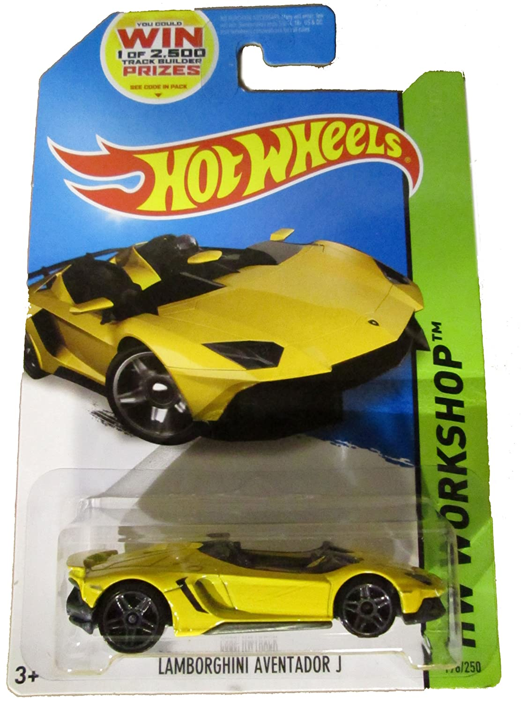 amazoncom hot wheels lamborghini aventador j 2014 release yellow hot wheels yellow lamborghini die cast toys games