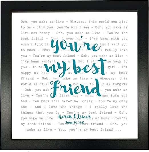 Amazon Com Queen You Re My Best Friend Typography Song Lyrics Print Framed Personalised Posters Prints