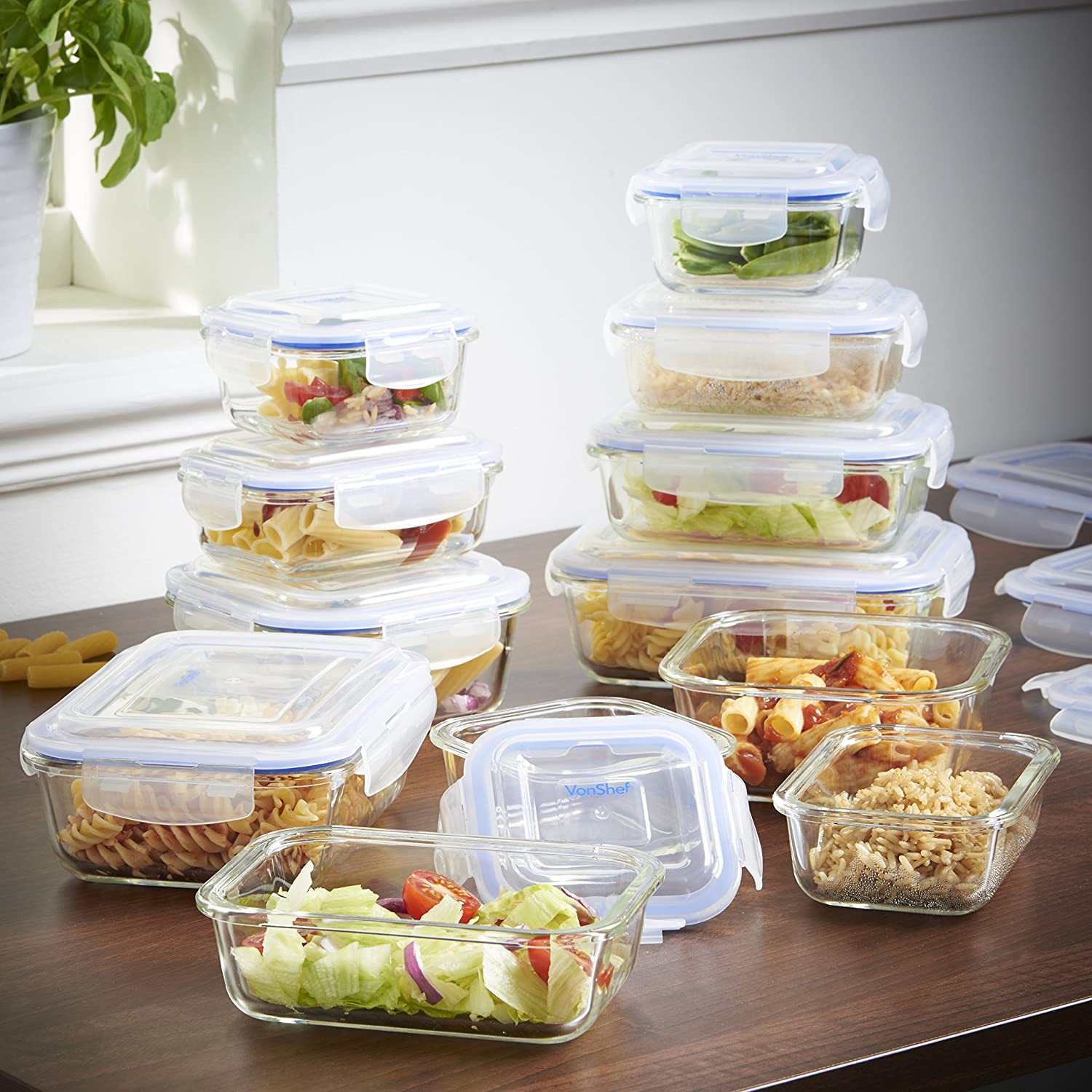 Amazon.com: VonShef Glass Container Food Storage Set with non BPA ...