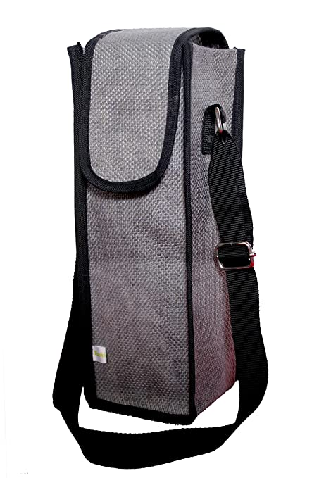 7b0df141de4 Buy Flyura Jute Water Bottle Carry Bag Cover with Shoulder Strap - Grey  Online at Low Prices in India - Amazon.in