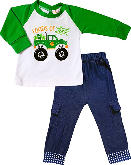 9ec2d3c2ff Toddler Boys St Patrick s Day Loads of Luck Shamrock Tractor Truck Tshirt  Denim Set ...