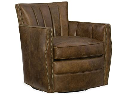 Hooker Furniture Carson Leather Swivel Club Chair In Tobacco Brown