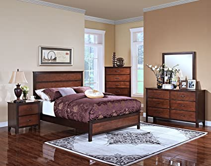 New Classic 00-145-15N Bishop 5-Piece Bedroom Set Eastern King Bed,  Dresser, Mirror, Two Nightstands, Two Tone