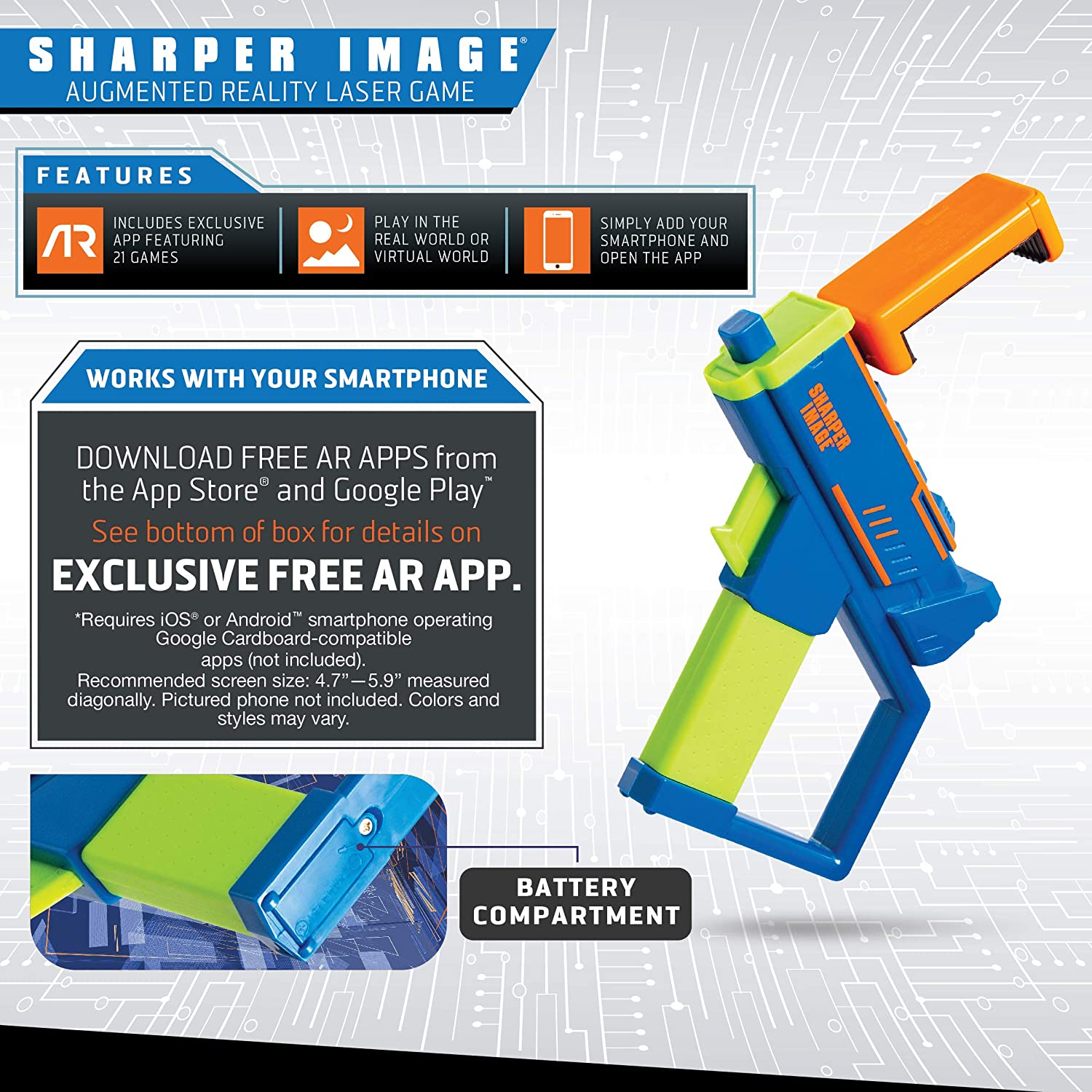 Sharper Image Augmented Virtual Reality Toy Blaster, Complete Video Gaming  System, Connects to Smartphone via Bluetooth, Use with Free AR App, Games