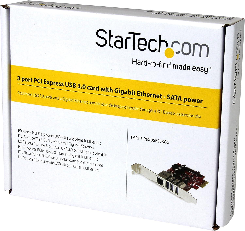 StarTech.com 3 Port PCI Express USB 3.0 Card + Gigabit Ethernet - Fits Standard & Low-Profile PCs - UASP Supported - Optional SATA Power (PEXUSB3S3GE)