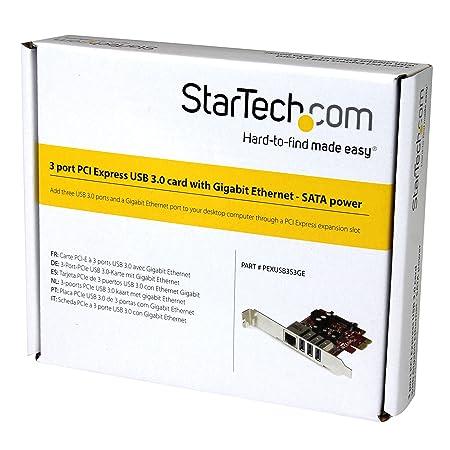StarTech com 3 Port PCI Express USB 3 0 Card + Gigabit Ethernet - Fits  Standard & Low-Profile PCs - UASP Supported - Optional SATA Power