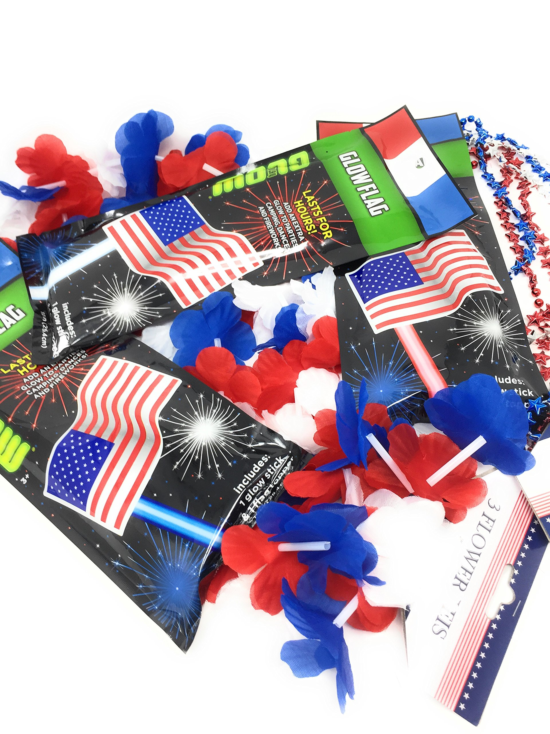 Patriotic Party Pack 3 USA Flag Glow Sticks (1) 3 Pack Patriotic Flower Leis (1) 3 Pack USA Necklaces Plus 100 Plus Tips Guide to A Safe 4th of July Celebration by Unknown (Image #1)