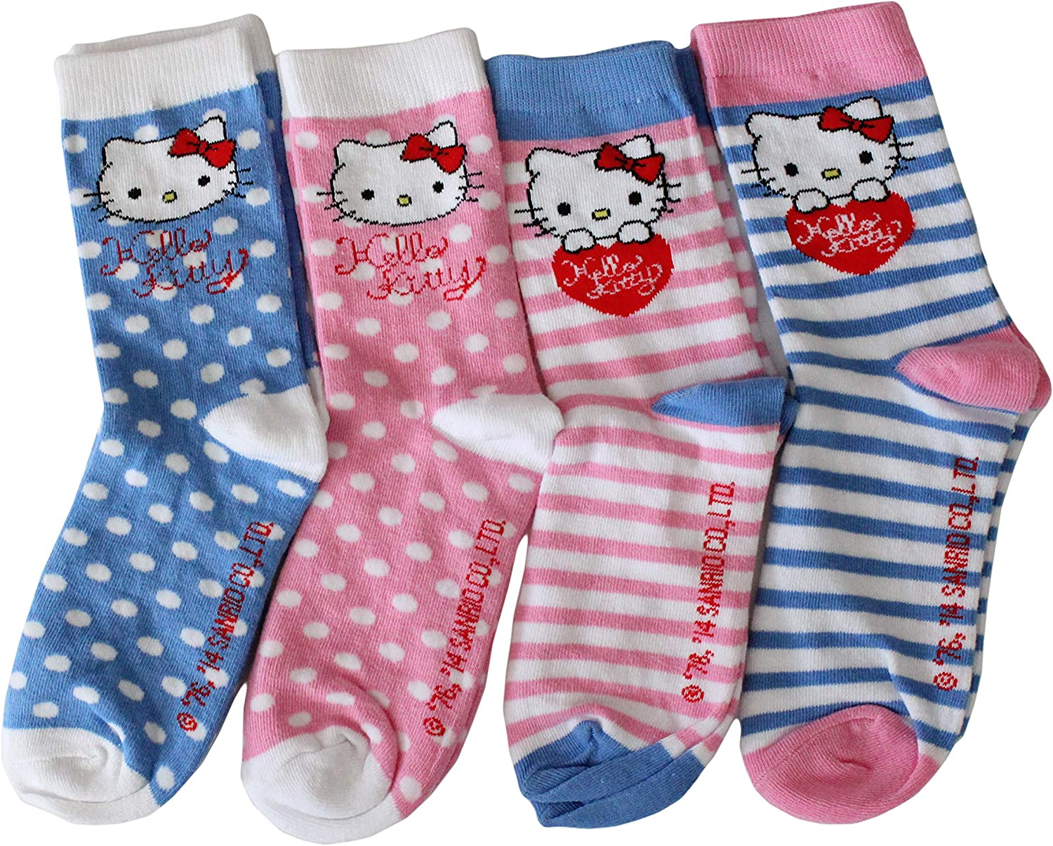 Hello Kitty Girls Collection Cute Cotton Blend Sock 4 Pack NH4938