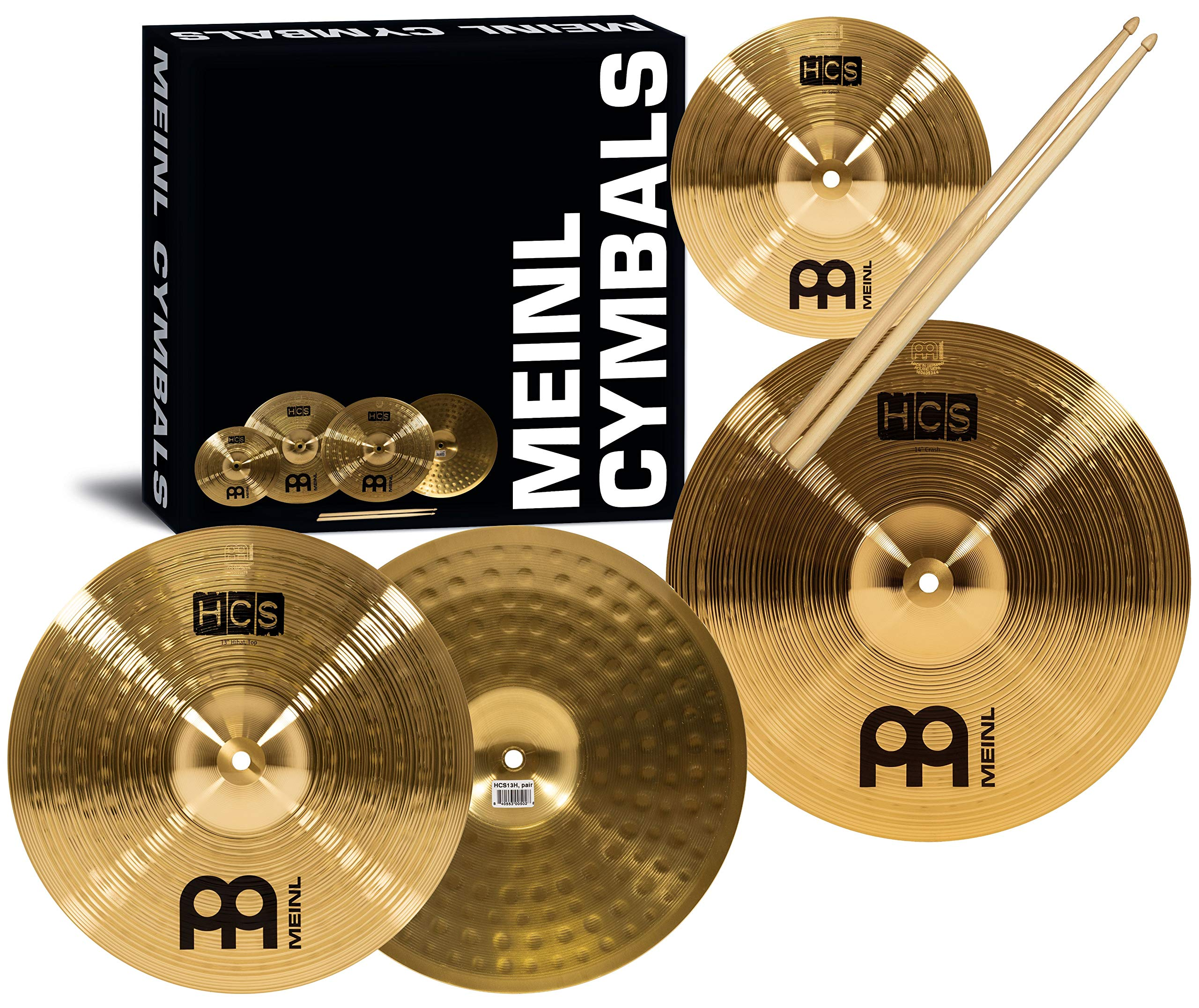Meinl Cymbal Set Box Pack with 13'' Hihats, 14'' Crash, Plus Free 10'' Splash, Sticks, Lessons – HCS Traditional Brass – Made in Germany, 2-YEAR WARRANTY MultiColor HCS1314-10S