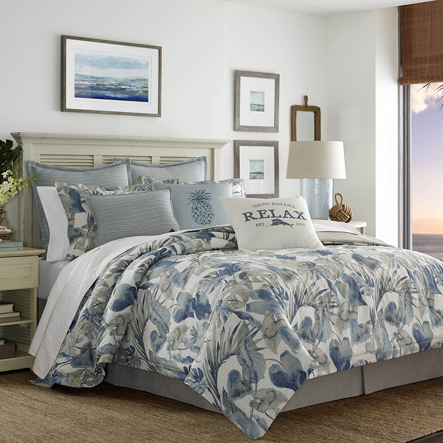 Tommy Bahama 221194 Raw Coast Comforter Set, California King, Blue