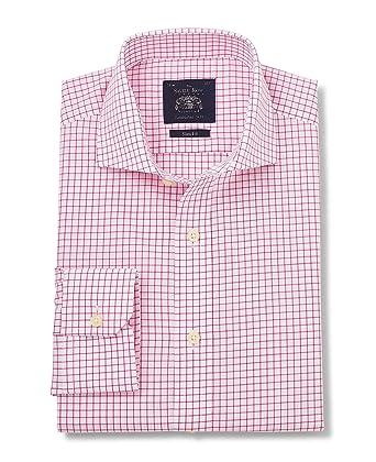 c943e13b18d8f2 Savile Row Men s White Pink Poplin Check Slim Fit Sit - Barrel Cuff Mitred  Cuff 14