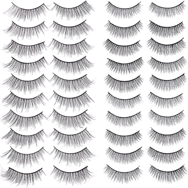 20 Pairs 3D False Eyelashes Black Nature Eyelashes Fluffy Soft Long Lashes Artificial Fake Eyelashes for Women Ladies Girls