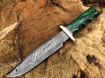 Perkin Knives Damasco Cuchillo de Caza de Acero Hecho a Mano Cuchillo de Hoja Fija