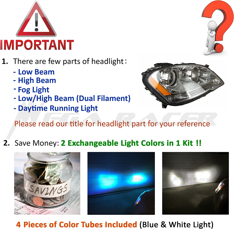 Mega Racer 9008 H13 Led Headlight Bulbs CREE COB LED 8000 Lumens 6000K Ultra Bright White 10000K Dark Blue 80W Led Headlights H13 Led Bulbs High Beam Low Beam Car Headlight Replacement