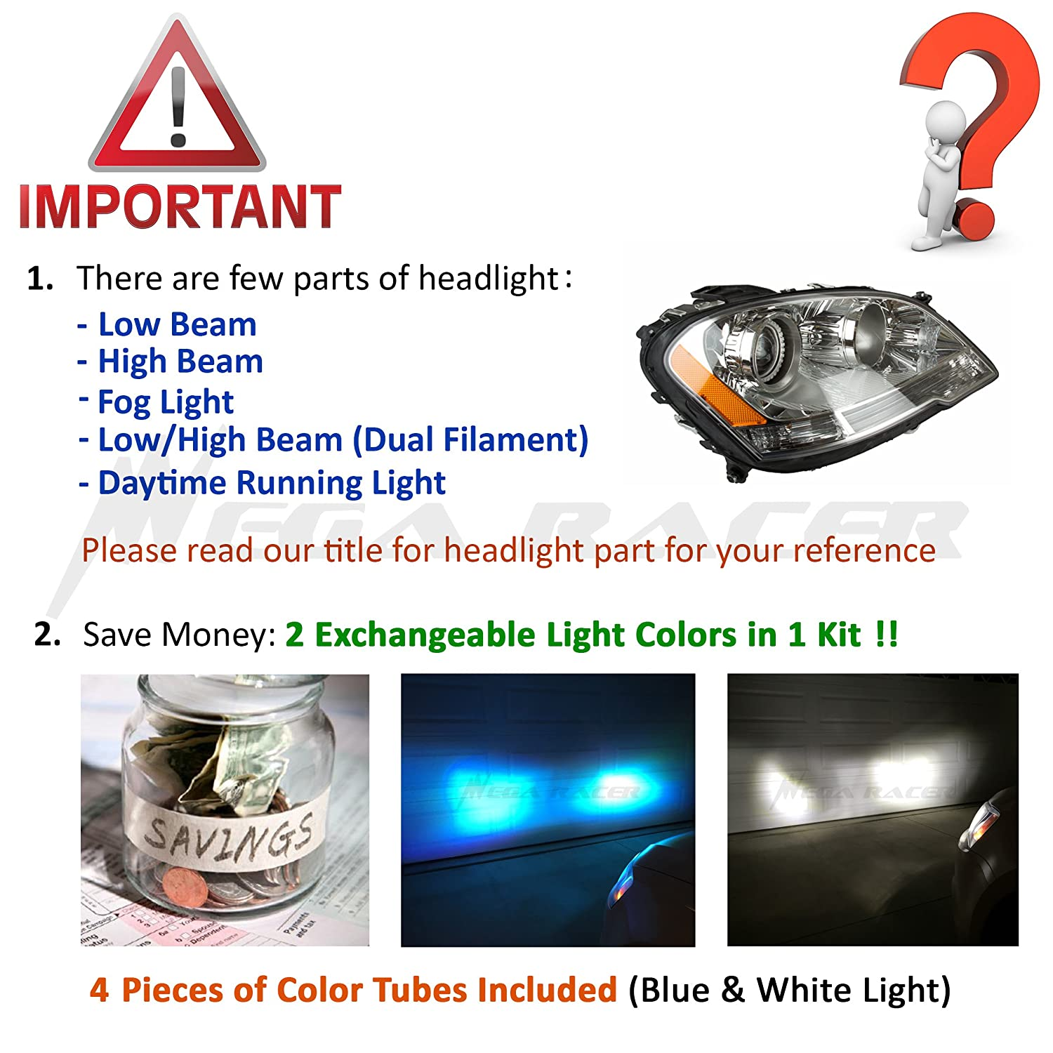 Amazon.com: Mega Racer (2 Colors in 1 Set) H7 10000K Blue 6000K White (Low Beam Headlight) CREE COB LED Xenon Kit Kit 8000 Lumen 80W US: Automotive