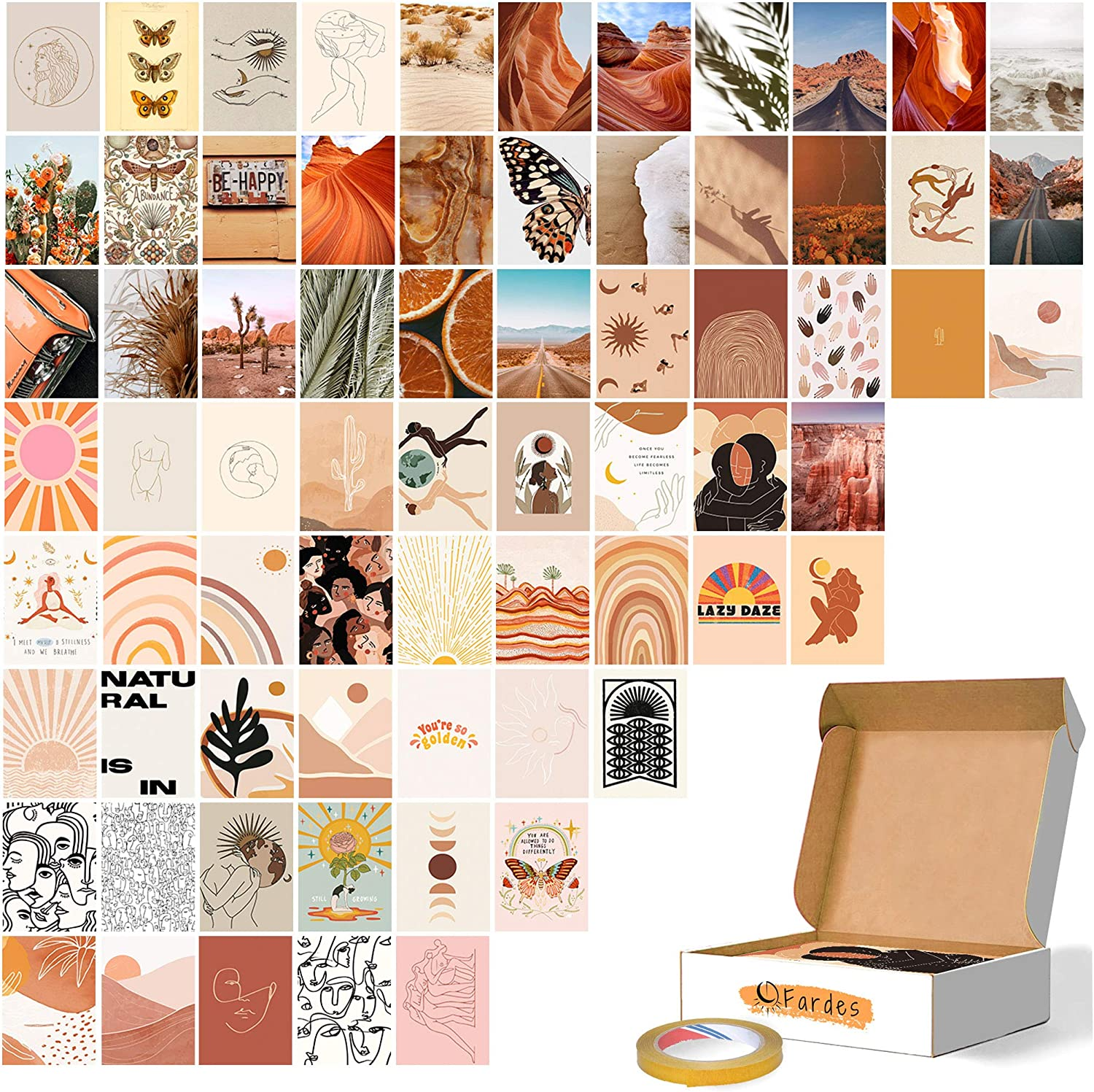 Wall Collage Kit Aesthetic Pictures, Boho Decor | Boho Wall Decor Aesthetic, Include Strong Double-Sided Tape, Collage Set for Boho Room Decor Aesthetic Vintage | Photo Collage Kit for Teen Girls Bedroom | 70 Set of 4x6 Inch Cardstocks