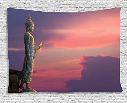 Ambesonne Purple Tapestry Asian Decor, Large Statue In Magical Pink Sunset  Scene Nature Meditation Decorative