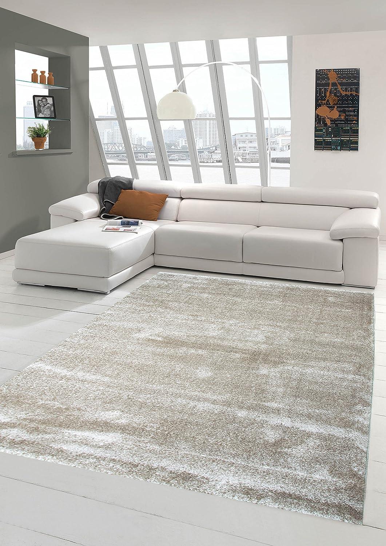 Traum Designer Teppich Moderner Teppich Wohnzimmer Teppich Kurzflor Teppich mit Uni Design Beige Größe 160x230 cm