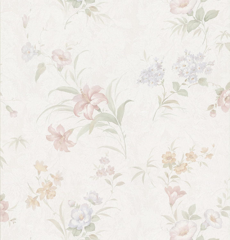 Brewster 149 73317 Wenquien Pastel Floral Pattern Wallpaper