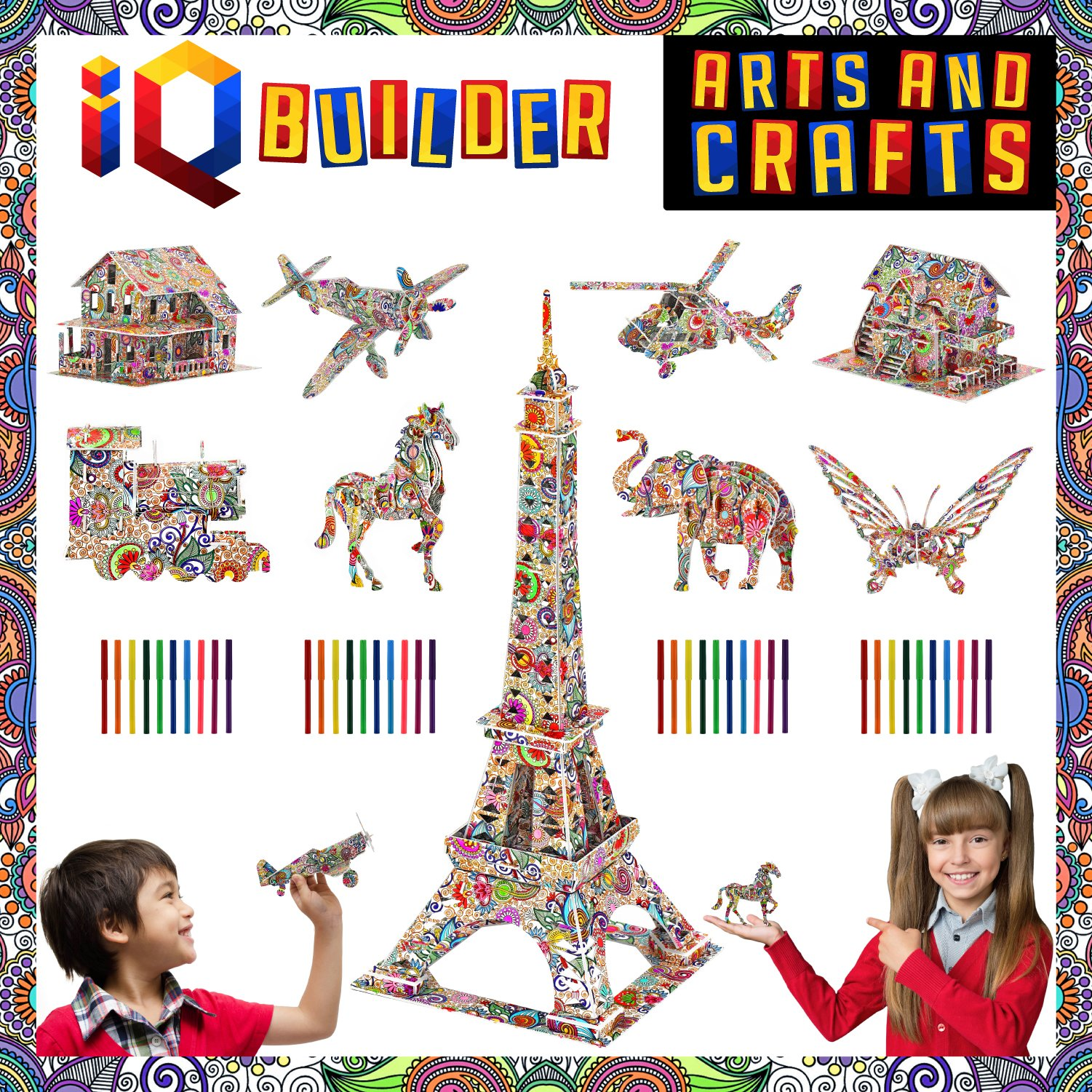 IQ BUILDER | Fun Creative DIY Arts and Crafts KIT | Best Toy Gift for Girls and Boys Age 8 9 10 11 12 Year Old | Educational Art Building Painting Coloring 3D Puzzle Project Set for Kids and Adults by IQ BUILDER
