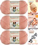 Bernat Softee Baby Yarn 3 Pack Bundle Includes 3 Patterns DK Light Worsted (Soft Peach)