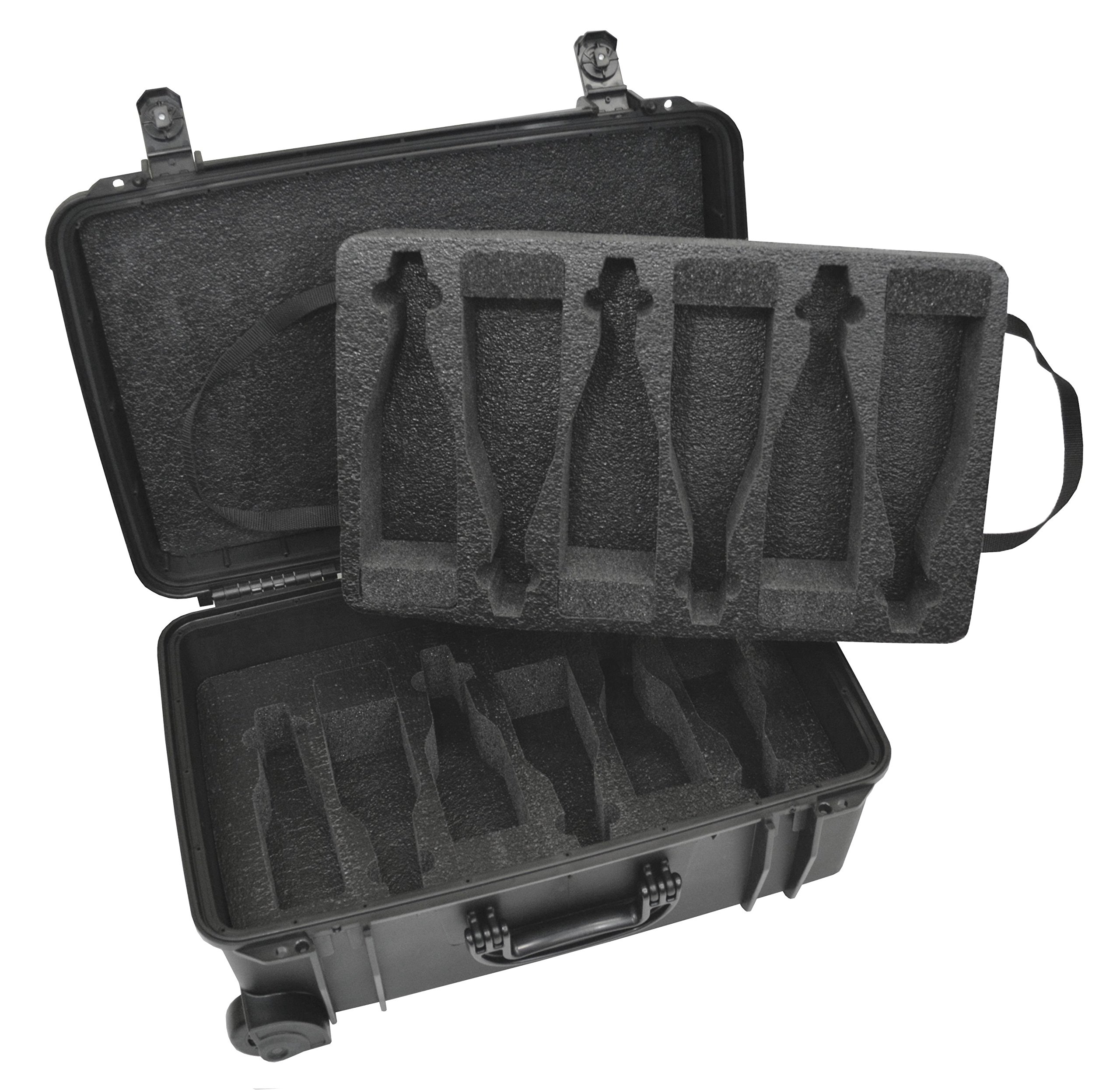Waterproof Heavy Duty Wheeled Alcohol Travel Case – Beer And Wine Carrying Case Includes Custom Foam Insert Bottle Holder