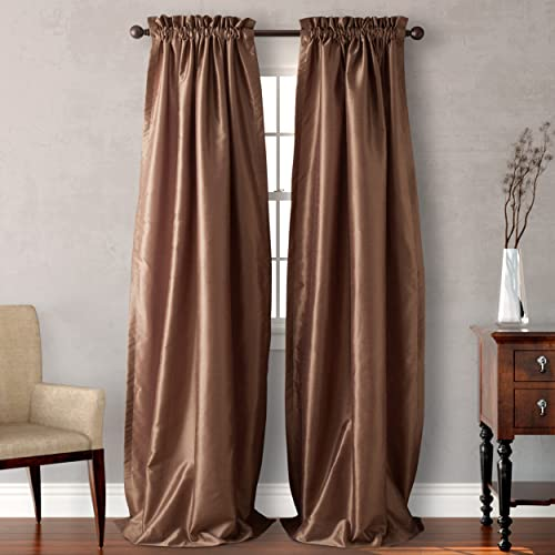 Heritage Landing Faux Silk Lined Window Panel Pair, 108 , Taupe