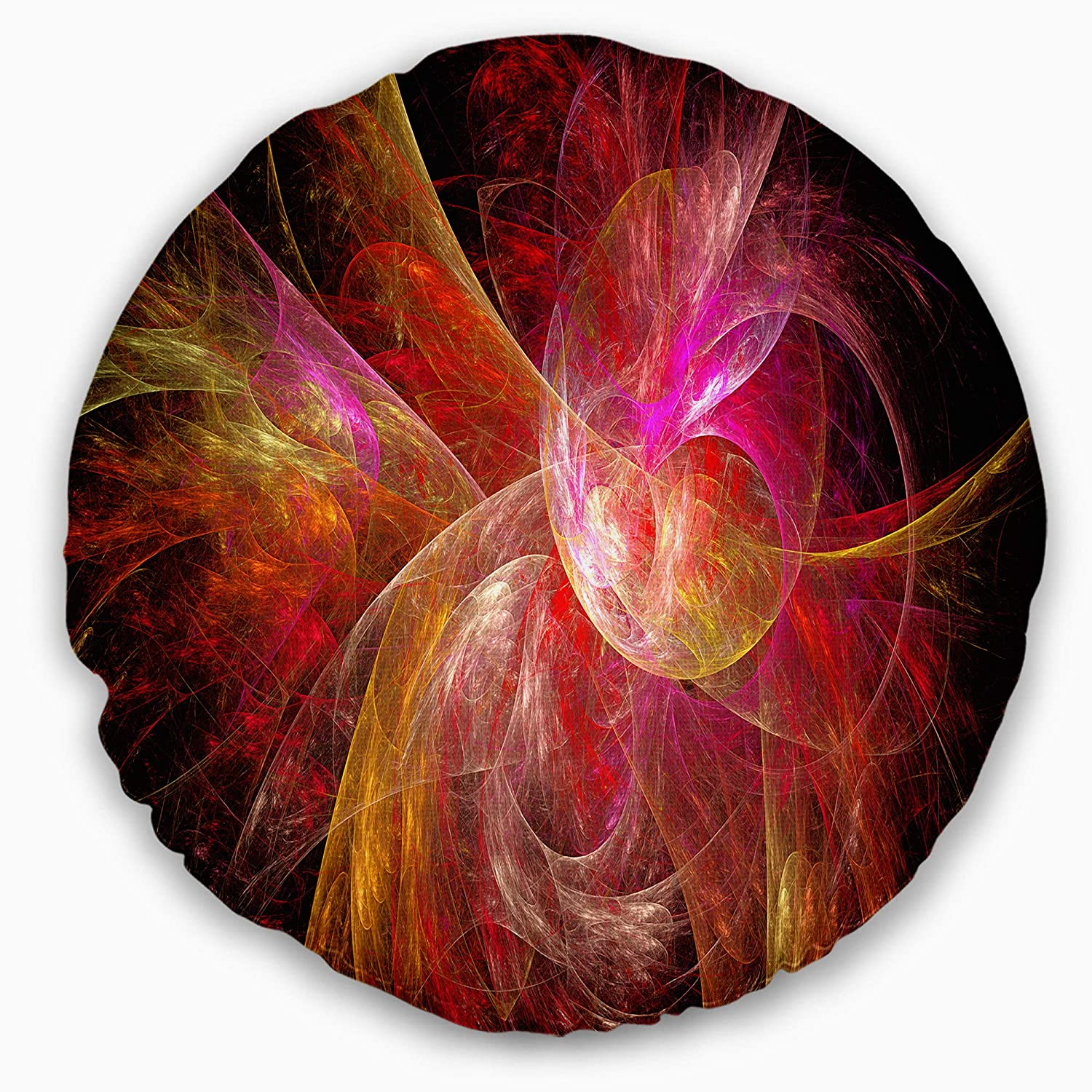 Sofa Throw Pillow 16 Inches Designart CU15933-16-16-C Pink on Black Fractal Illustration Abstract Round Cushion Cover for Living Room