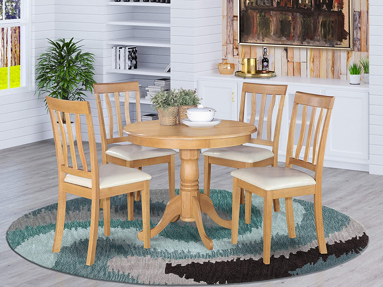 Amazon Com East West Furniture Dining Room Set 4 Great Wooden Chairs A Wonderful Pedestal Dining Table Faux Leather Seat And Oak Finnish Round Wooden Table Table Chair Sets