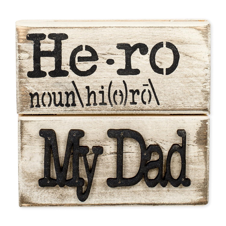 Hero My Dad 7 X 7 Inch Wood Art Sign Plaque