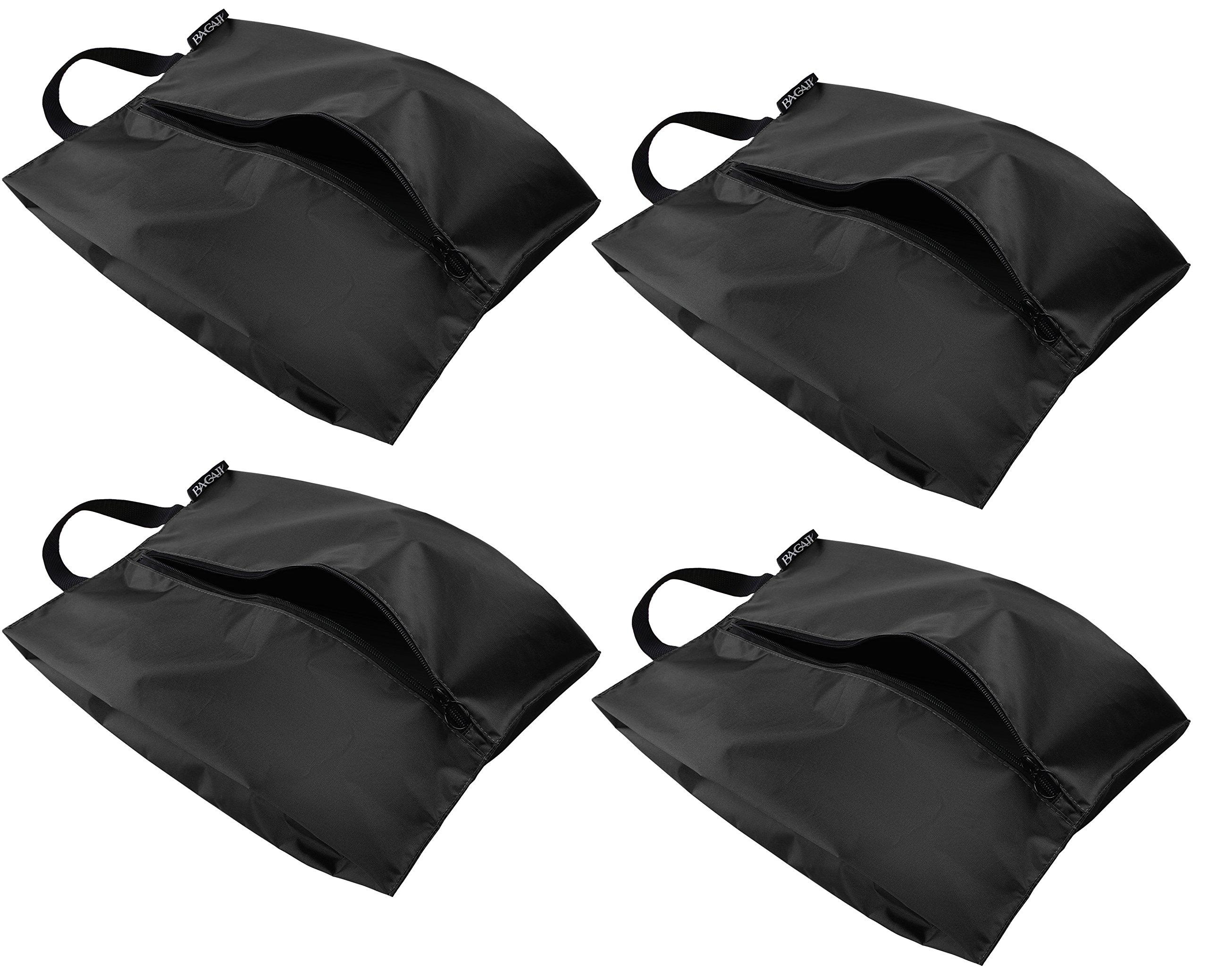 Bagail Travel Shoe Bags Set of 4 Lightweight Waterproof Nylon Storage Bag for Men & Women (Standard Size, Black (2 XL & 2 Standard))