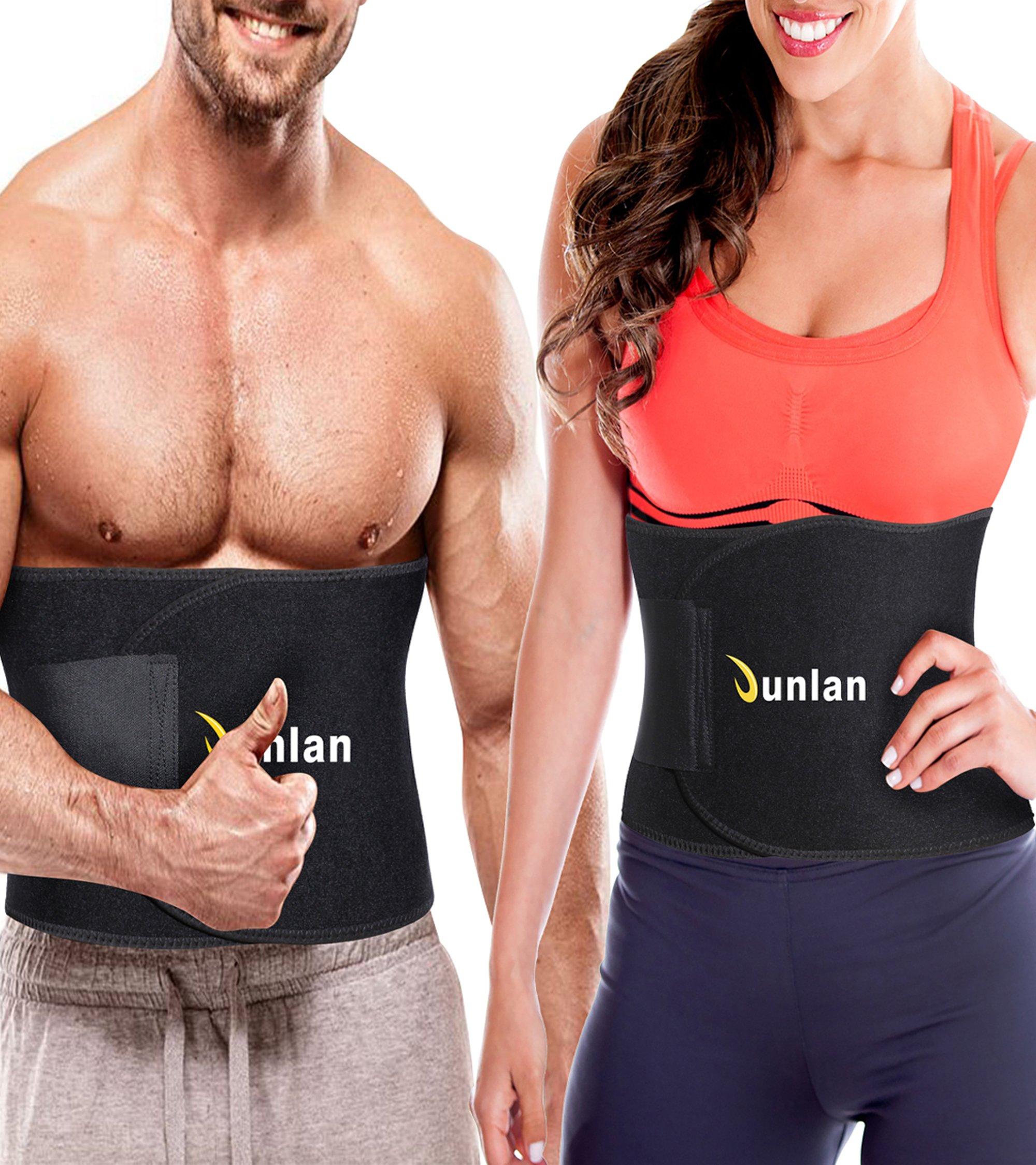 Junlan Workout Waist Trainer Weight Loss Trimmer Belt Corset Exercise Body Band Gym Sauna Sweat Wrap Sport Slimming Abs Belts (Black Waist Trimmer Training Belt, M)
