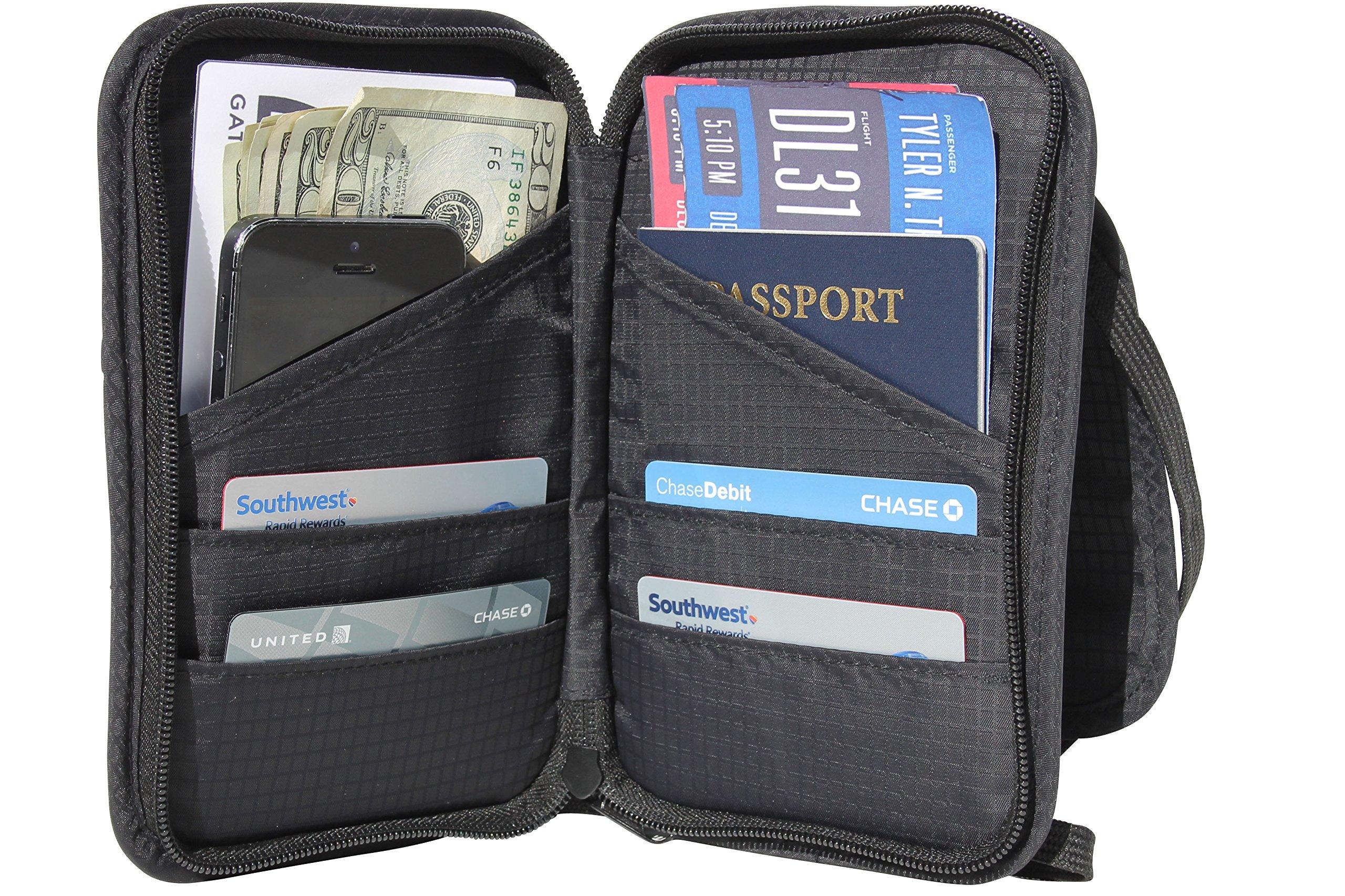 Travel Wallet And Passport Holder Neck Pouch Rfid Blocking Document Organizer Ebay