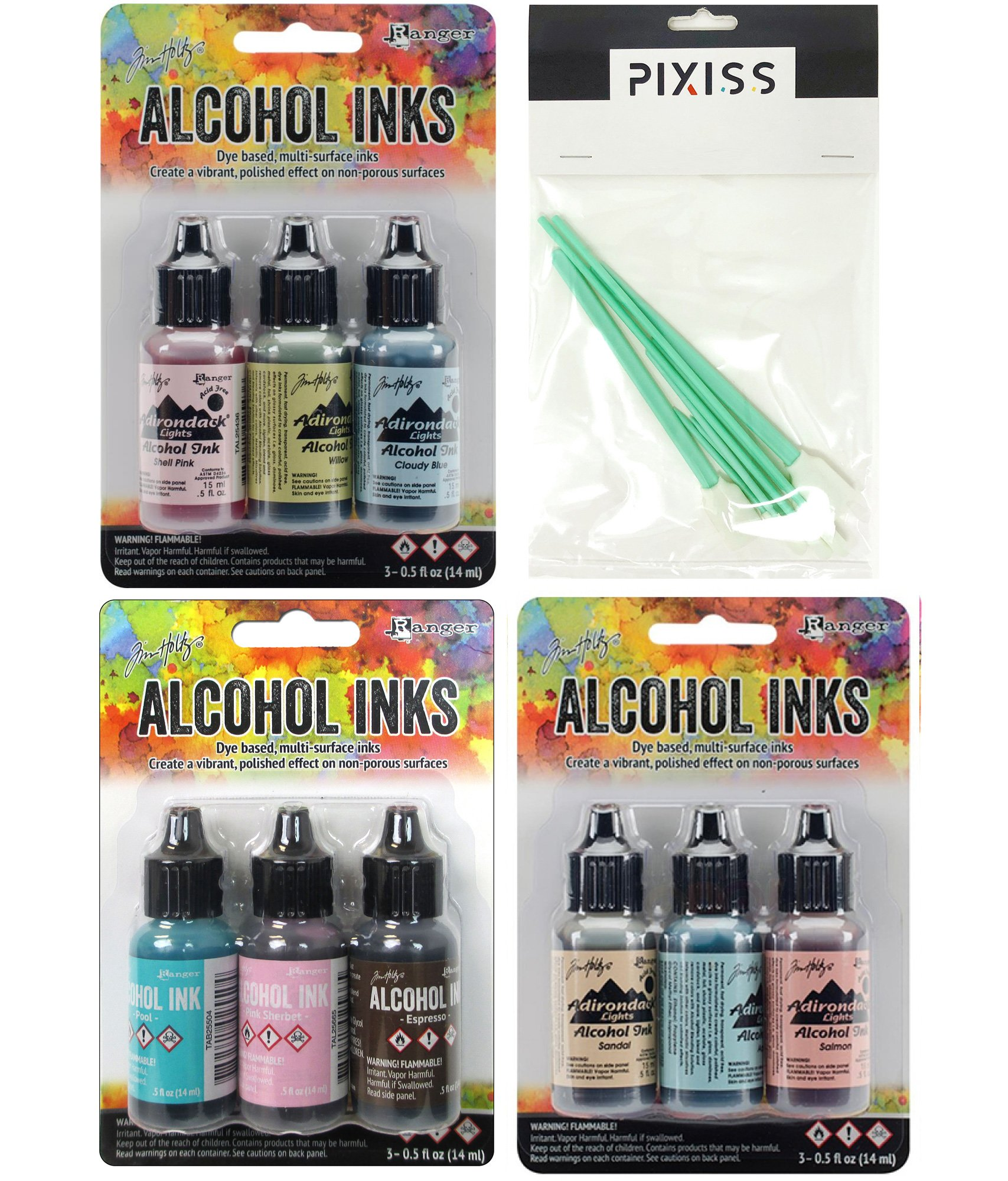 Ranger Tim Holtz Alcohol Inks Bundle 4, Lakeshore, Retro Cafe and Countryside, 10x Pixiss Ink Blending Tools by Ranger