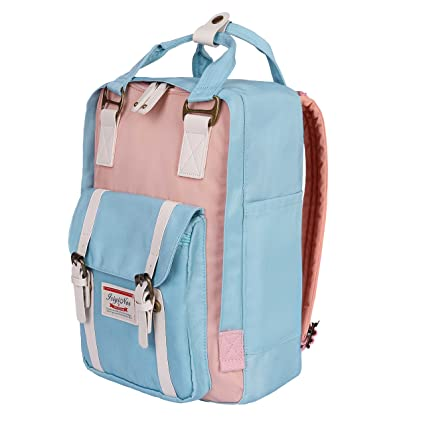 6554483c2 ISIYINER Casual Backpack Durable School Bag Rucksack Waterproof Nylon  Daypack for Shopping Outdoor Travel Hiking for Women Lady Girls 15inch Pink:  ...