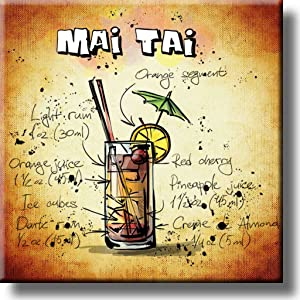 Mai Tai Cocktail Recipe Drink Picture on Stretched Canvas, Wall Art Decor, Ready to Hang!