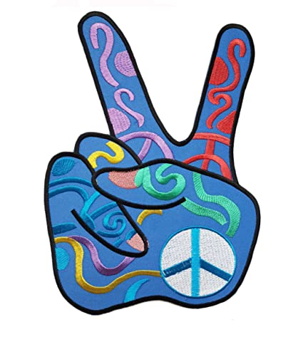 04b38b2e695 Big XL Iron on Patch - Blue Peace Fingers Sign Hippie - 9 x 6.5 inches