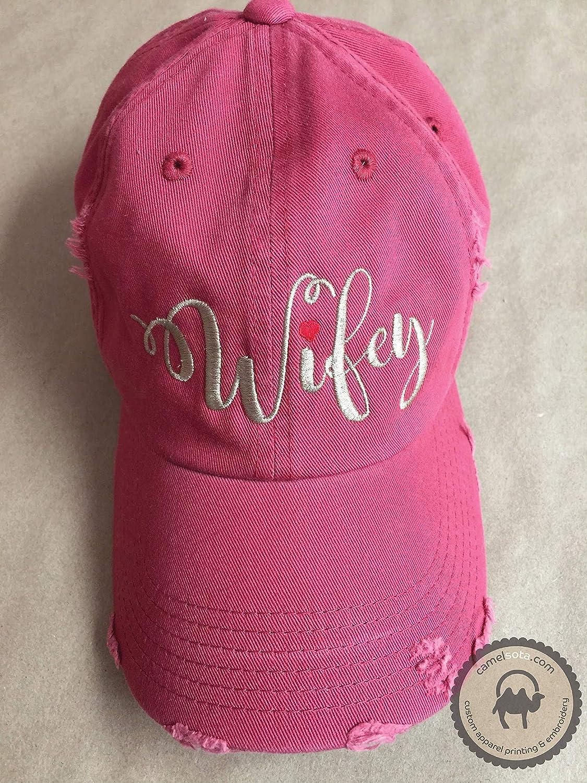 2713bdbf Amazon.com: Wifey Hat, Distressed Wifey Hat, Red Wifey Hat, Embroidered Wifey  Hat, Newlywed Gift, Wedding Embroidered Hat, Wedding Hat Gift: Handmade